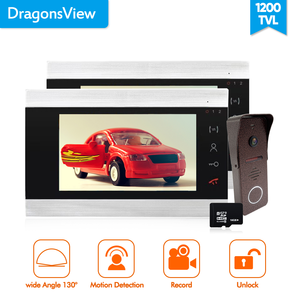 Dragonsview  Wired Video Door Phone Intercom Electronic  Video Call 7 Inc 2V1 16GB SD Card Record Motion Detection