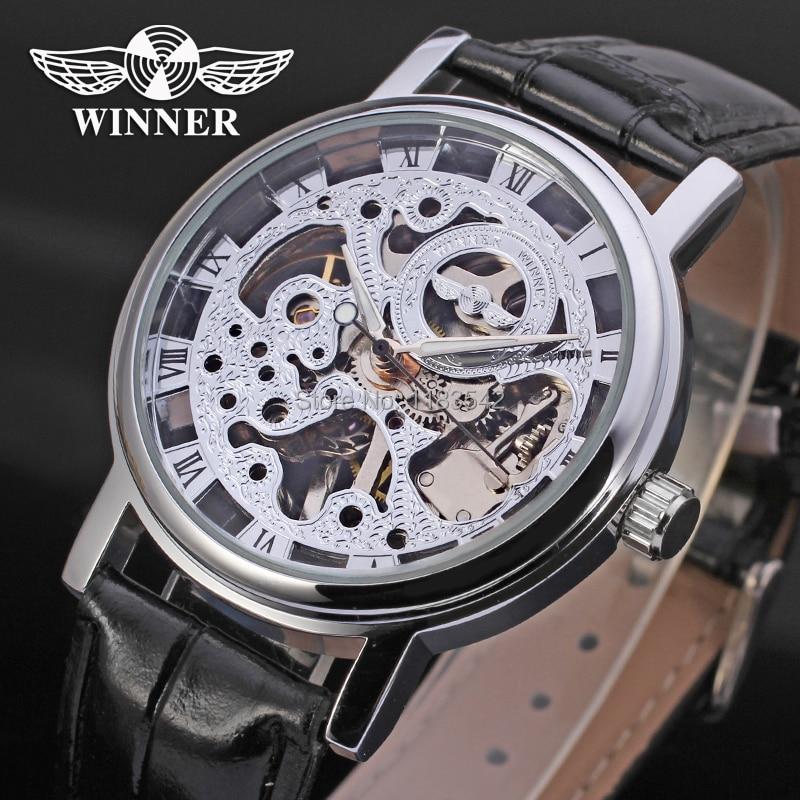 Vencedor Relógio Mecânico dos homens Mão-vento Pulseira de Couro Moda Casual Analógico relógio de Pulso de Cristal Cor Lasca WRG8005M3S1