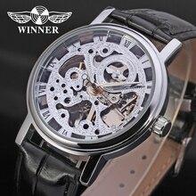 Gagnant Hommes Montre Mécanique de Main-vent Bracelet En Cuir De Mode Casual Analogique Cristal Montre-Bracelet Couleur Ruban WRG8005M3S1