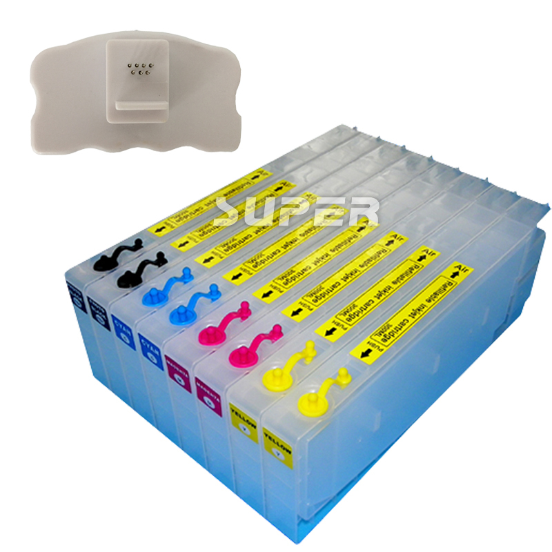 8 pcs Cheapest ink cartridges for epson 7450 9450 Empty with chips and resetter on high quality new t5971 t5974 t5978 empty refillable ink cartridge for epson stylus 7700 9700 7710 9710 with arc chips with one resetter