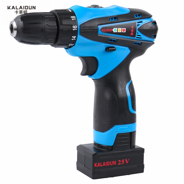 KALAIDUN 25V Electric Drill Mobile Power Tools Electric Screwdriver Lithium Battery Cordless Impact Drill With Extra Toolbox 1