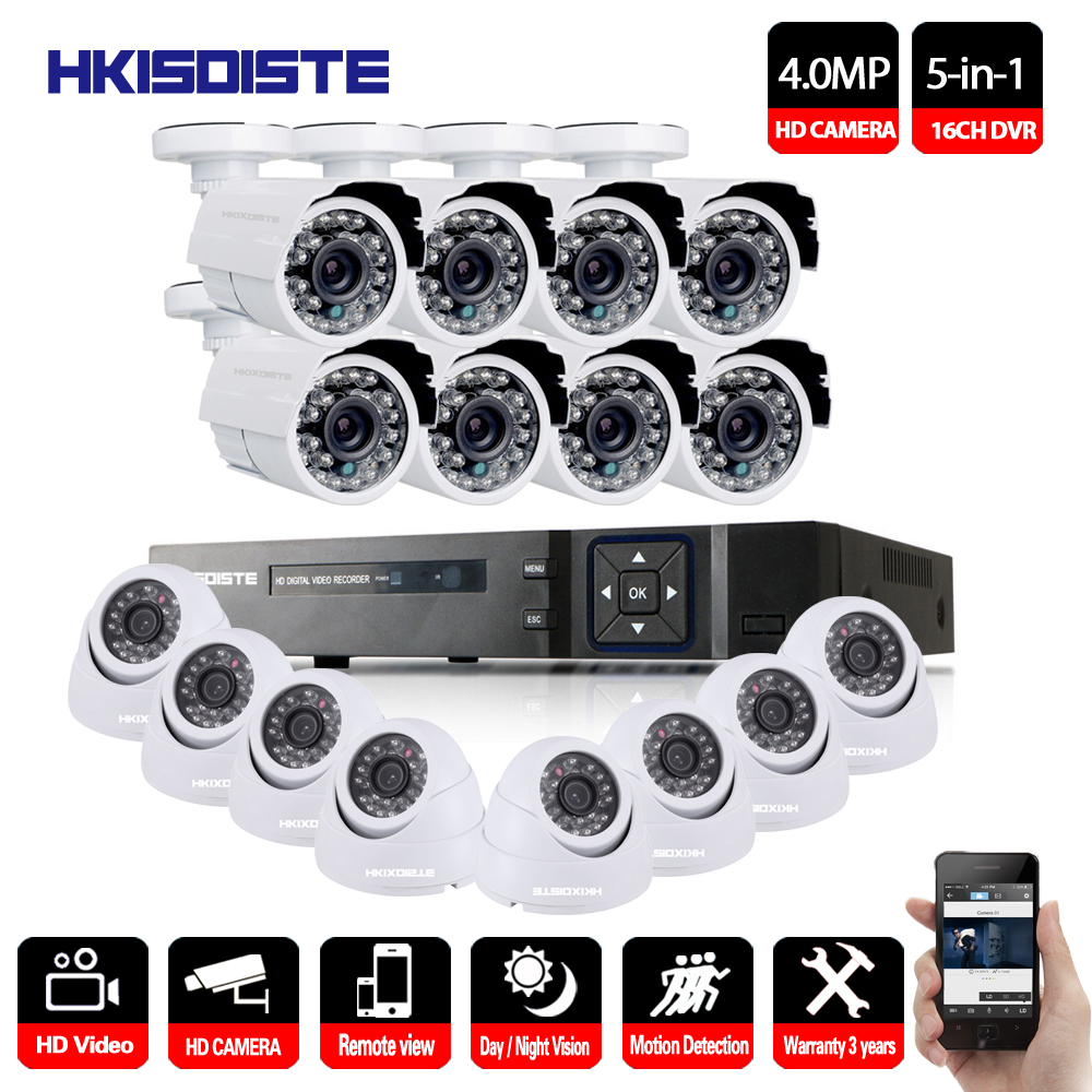 HKIXDISTE CCTV System 16CH 4MP HDMI Output Video Surveillance DVR Kit with 16PCS 4.0MP HD Home CCTV Security Camera System robbe