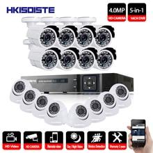 HKIXDISTE CCTV System 16CH 4MP HDMI Output Video Surveillance DVR Kit with 16PCS 4.0MP HD Home CCTV Security Camera System