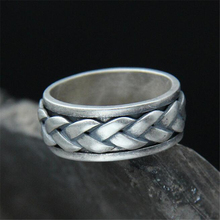 цены Fashion Punk Mens 100% 925 Sterling Silver Rotatable Spinner Chain Antique Silver Twisted Weave Band Ring Finger Jewelry