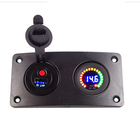 DC12V Car Switch Control Panel Curved LED USB Charger Multicolored Digital Voltmeter On off Button Switches for Marine Boat