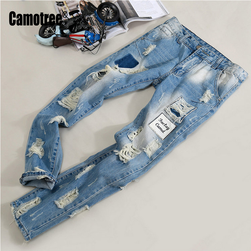 ФОТО 2017 Harem Men's Personality Designer Brand Jeans Men Ripped Jeans Male Printed Jeans Painted Pattern Denim Pants 28-38