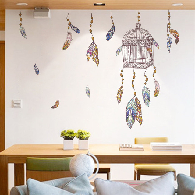 Bird Cage Colorful Feather Wall Stickers Bedroom Office Wall ...