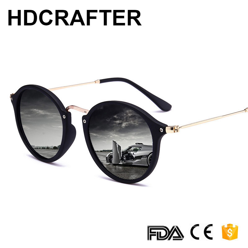 2018 New Arrival Round Sunglasses Retro Men women Brand Designer Sun glasses Vintage coating mirrored Oculos De sol UV400