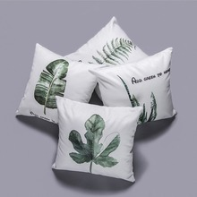 Soft Lint Throw Pillow Case Tropical Plant Leaf Concise Home Decor Plantain leaves Almofada Cushion Cover