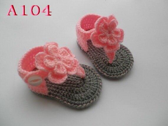 Best Selling Crochet Baby Sandals Baby Pink Flowers Flip Flops
