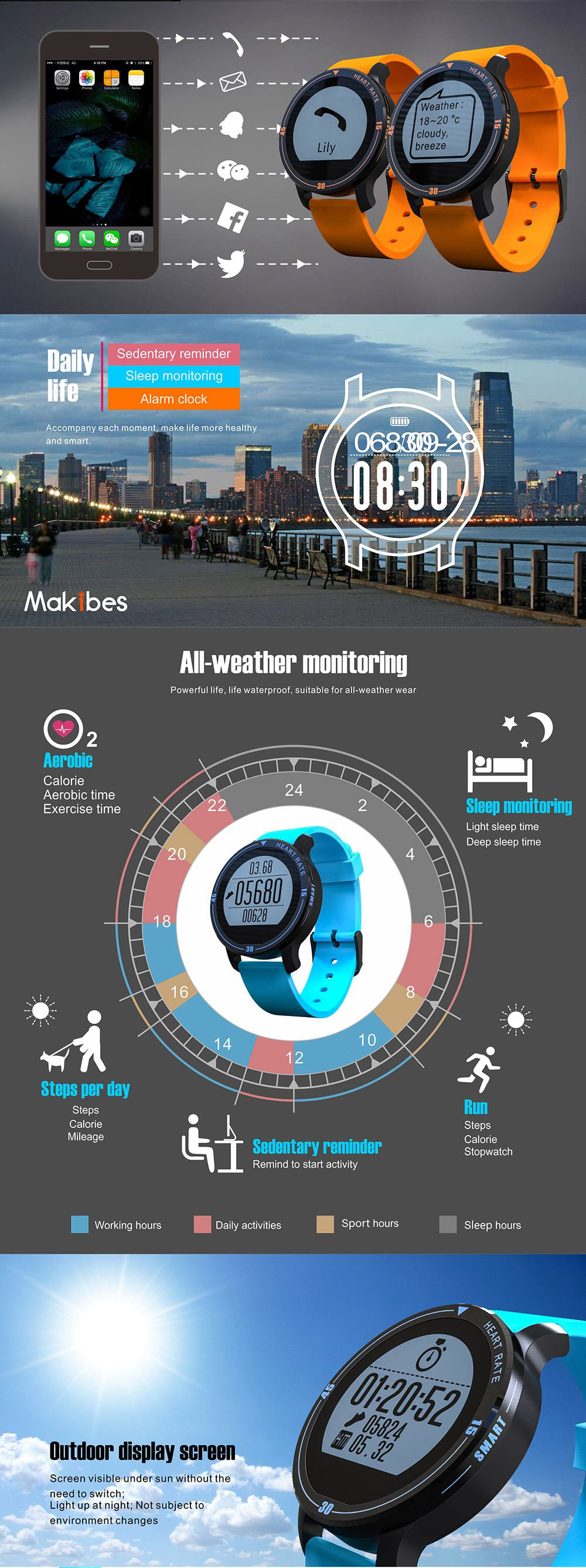 MAKIBES AEROBIC A1 SMART SPORTS WATCH BLUETOOTH DYNAMIC HEART RATE MONITOR SMARTWATCH S200 231407 19