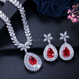 Image 4 - CWWZircons High Quality White Gold Color Cubic Zirconia Paved Big Water Drop Bridal Wedding Necklace And Earring Set T274
