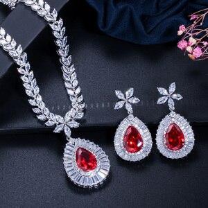 Image 4 - CWWZircons ensemble de boucles doreilles et collier de mariée de haute qualité, couleur or blanc en zircone cubique pavée, grande goutte deau, T274