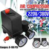Durable 240V/380V Regulator Duty Air Compressor Pump Pressure Control Switch Air Pump Control Valve 7.25-125 PSI with Gauge