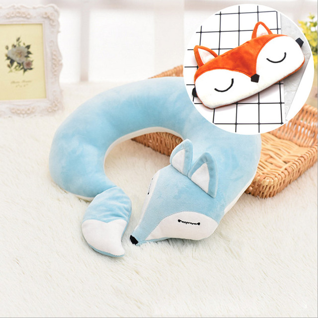 HazyBeauty Lovely Fox Animal Cotton Plush U Shape Neck Pillow Travel Car Home Pillow Nap Pillow Health Care with Eye Mask 2