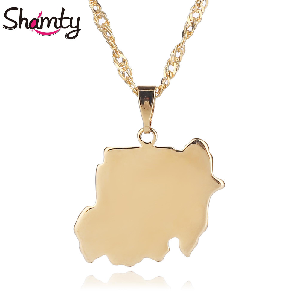 Shamty Sudan Map Jewelry For Women Men African Fashion Necklace Pendant New Gold Color Jewelry Fashion Brand Jewelry D30095