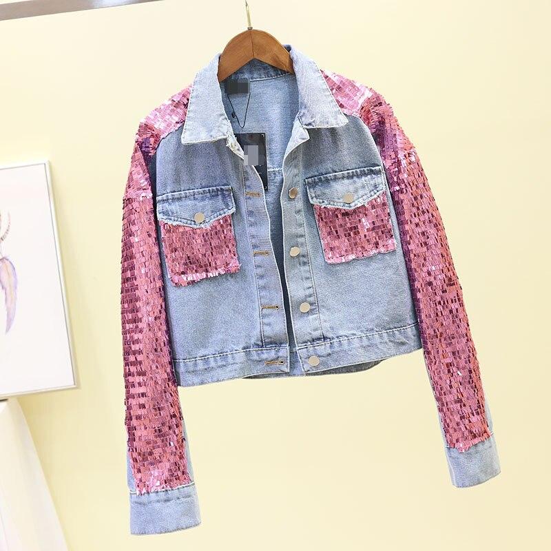 Nouveau Multicolore Jeans Pink De Manches En Lourde Vestes Kelly Longues vert Denim Courts Sac Manteau 2019 or Femmes L'industrie Paillettes QrxshdtC