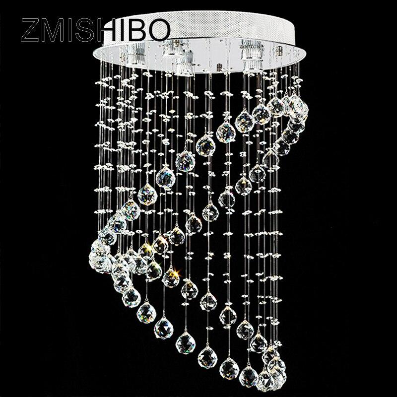 ZMISHIBO Modern Crystal Ceiling Pendant Lamp D50*80CM GU10 110-220V Surface Mounted Chandelier Luminaire For Foyer Living Room zmishibo wave crystal pendant ceiling lamp 5 6 led bulbs 110 220v surface mounted hanging chandelier for dining room hotel palor