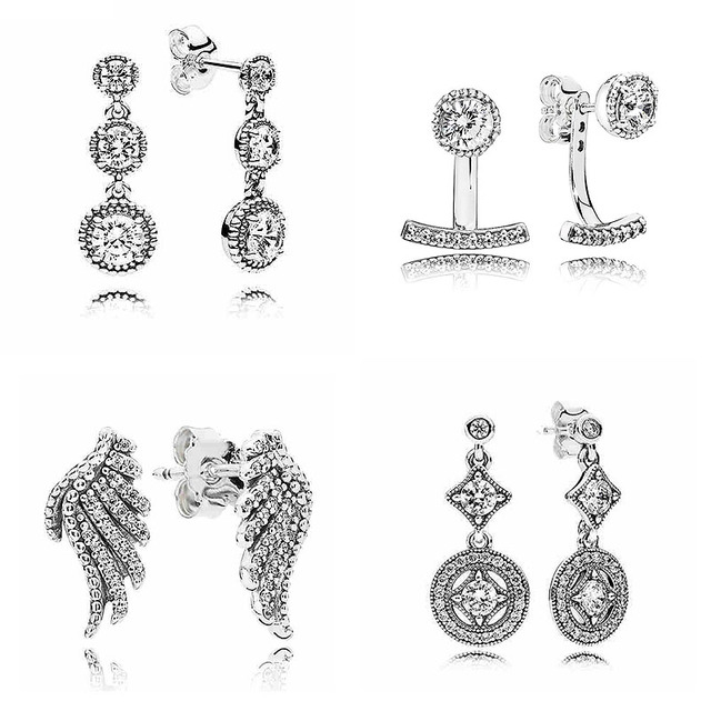 f40d4c16e Majestic Feathers Abstract Elegance Earring Studs 925 Sterling Silver  Earrings For Women Wedding Party Gift Pandora Jewelry-in Stud Earrings from  Jewelry ...