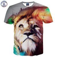 Mr.1991INC 사자 인쇄 여름 패션 티셔츠 남성/소년 짧은 소매 t 셔츠 3d 인쇄