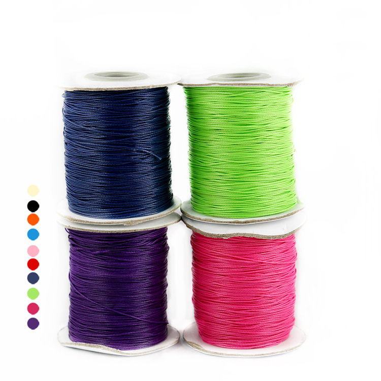 <font><b>15</b></font> Colors 5Meter Waxed Cotton Cord 2mm <font><b>Thread</b></font> String Rope Spool Wire fit <font><b>Beading</b></font> Craft DIY Bracelet Necklaces Jewelry Findings image