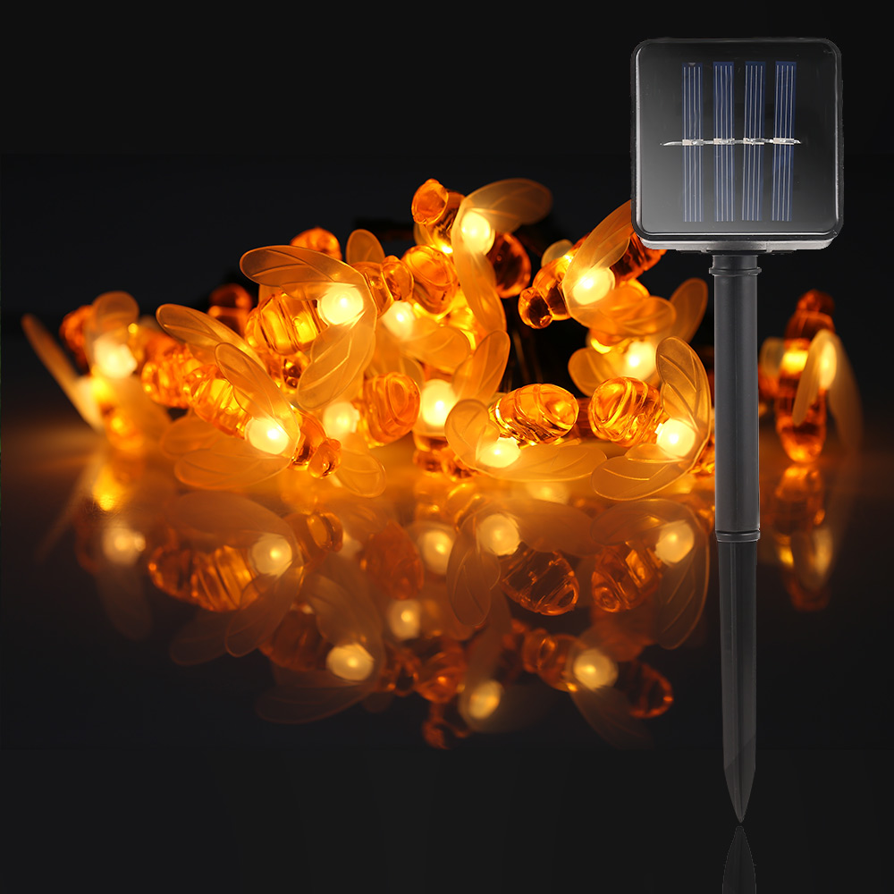 Image 4 - New Solar Powered Cute Honey Bee Led String Fairy Light 20leds 30leds Bee Outdoor Garden Fence Patio Christmas Garland Lights-in LED String from Lights & Lighting on