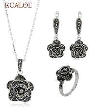KCALOE Parure Bijoux Femme Flor Crystal Rose Juegos de Anillos Pendientes Collar Negro de La Manera Sistemas de La Joyería de La Vendimia Para Las Mujeres