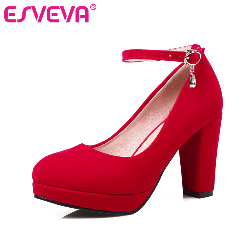ESVEVA new Ankle Strap Woman Pumps Square High Heel Flock Ladies Summer Shoes Buckle Fashion Platform Ladies Shoes Size 34-43 esveva sexy flock thin high heel women pumps summer party pointed toe woman pumps ankle strap ladies wedding shoe size 34 43