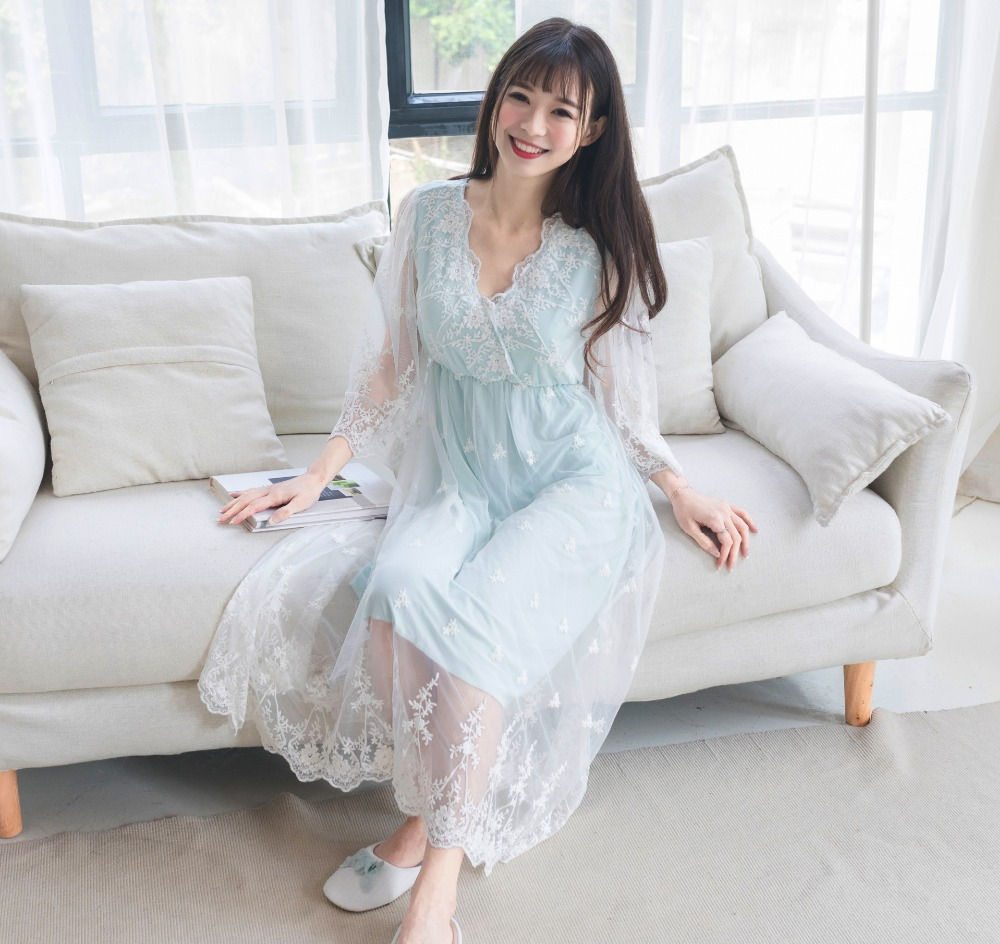 Intertwined V-Neck Modal+Mesh Beach Dress Nightdress Women Nightgowns Sleepshirts Lady Lace Night Sleepwear Home Clothes 0312#