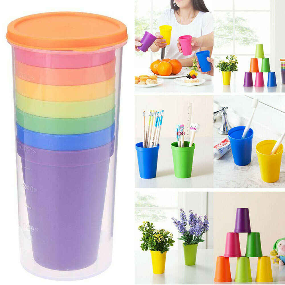 7Pcs Mug Plastic Cups Water Battle Set Of 8 Reusable Picnic Travel Trendy Funny Portable Rainbow Suit Cup Party Kids Drink Cup