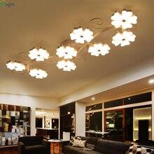 Современная Сливовая акриловая Светодиодная потолочная люстра, изогнутая металлическая лампа для гостиной, Dimmble, светодиодная люстра, освещение для спальни, светильники