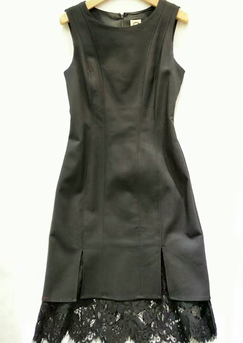 Patchwork Bak6414 Femmes Manches Noir Dentelle Robes Dress Sans Sexy zxFF50Pqw