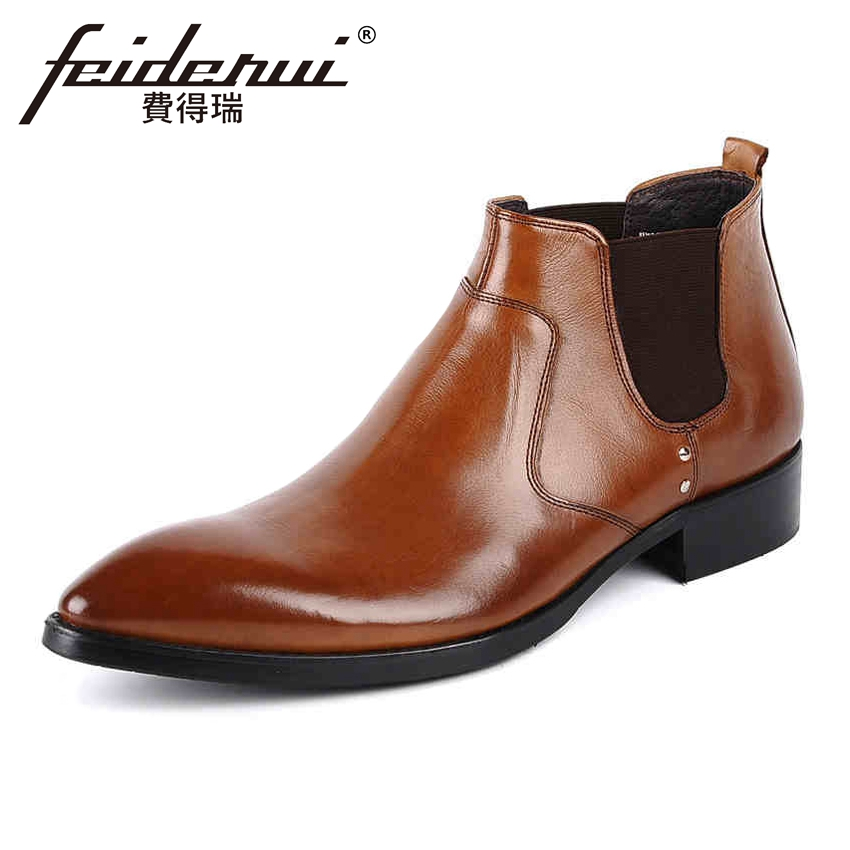 Luxury Genuine Leather Mens Chelsea Ankle Boots Pointed Toe High-Top Handmade Cowboy  Man Shoes YMX83Luxury Genuine Leather Mens Chelsea Ankle Boots Pointed Toe High-Top Handmade Cowboy  Man Shoes YMX83