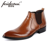 Luxury Genuine Leather Men's Chelsea Ankle Boots Pointed Toe High Top Handmade Cowboy Martin Man Shoes YMX83