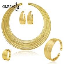 OUMEILY Conjuntos Collar Aretes de Joyería de Moda Juego de Anillos Pulsera Para Las Mujeres Chapado En Oro de Múltiples Capas Nupciales Gargantilla Accesorios