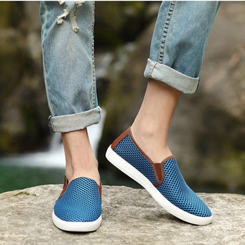 Plage Bleu Designer 49 Mens Hommes Casual Taille Chaussures Grande D'été Mocassins on gris Flats Yomior 38 Respirant or Slip Bateau BpPAq