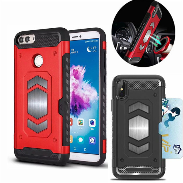 wholesale dealer 5b665 e5bd7 US $3.04 20% OFF|For Huawei P Smart case Car Magnetic Suction Bracket Cases  Shockproof Armor back cover for Huawei PSmart Card Slot Cover-in Fitted ...