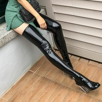 2017 Autumn Vintage Stylish Patent Leather Over Knee Stockings Elastic Type Regular Thickness Shining Hold Ups