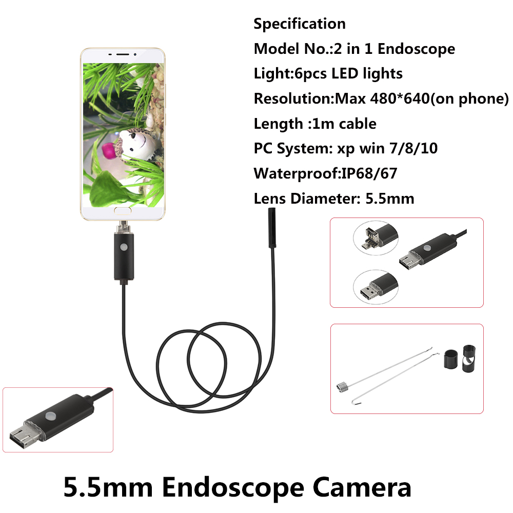 Mini 5.5MM Lens Android USB Endoscope 6 LEDs Waterproof Mini Camera Android OTG Borescope Endoscope For Android PC 1M Cable