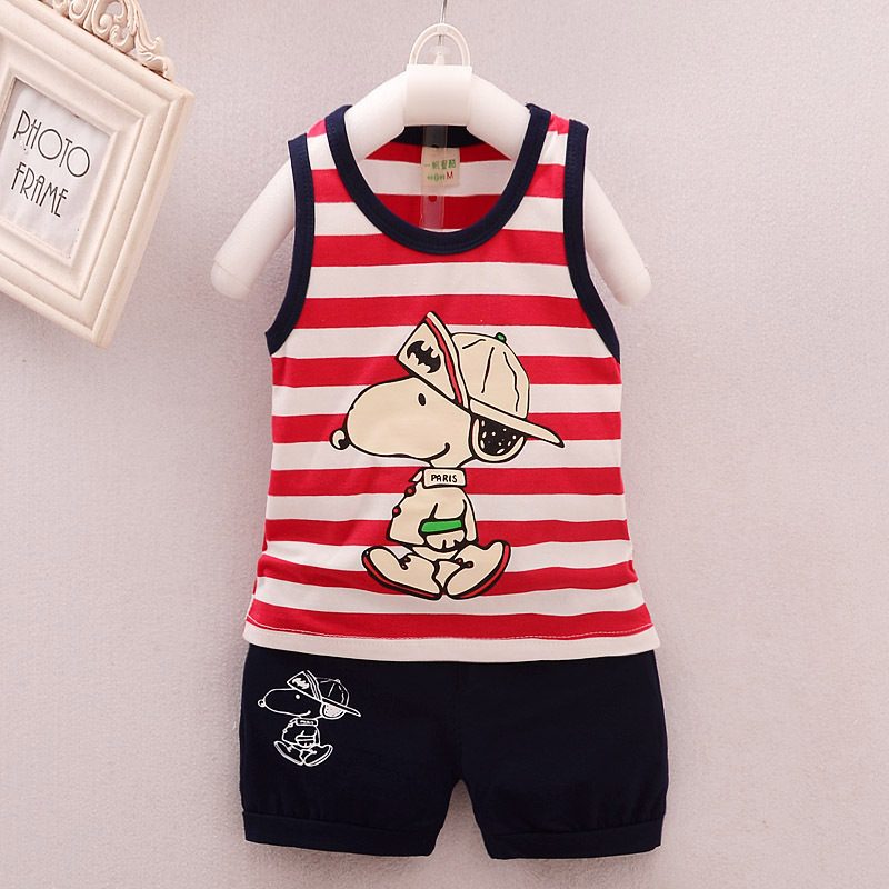 Baby Boy Clothes 2017 Summer Brand Cartoon Dog Striped Sleeveless Vest Tops + Shorts Outfits Kids Bebes Jogging Suits Tracksuits