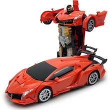 RC Car Transformation Robots Remote Control Deformation Car Electric Rechargeable Sports Car Hand Interaction Toys For Children(China)