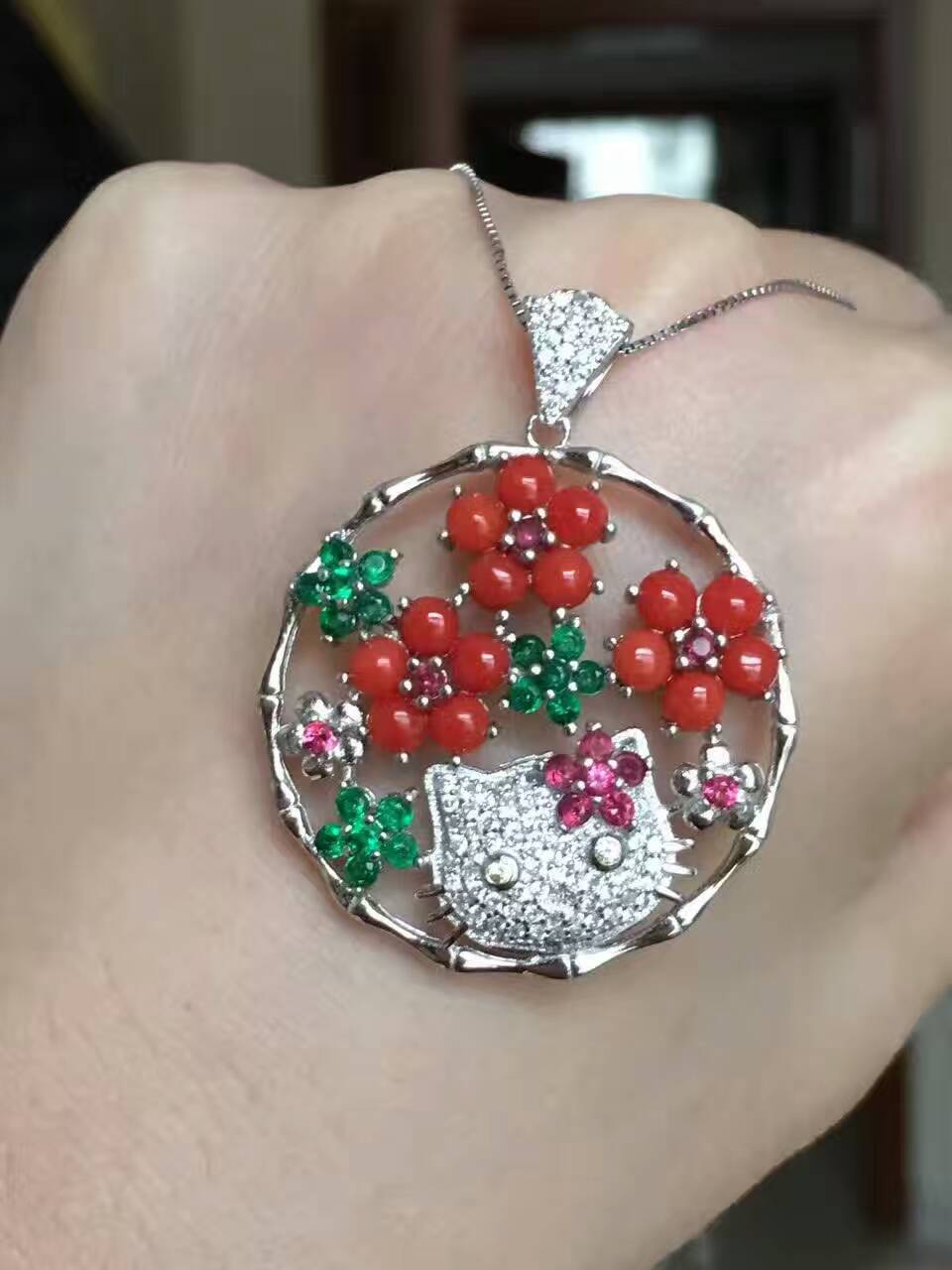 natural red coral gem pendant S925 silver Natural gemstone Pendant Necklace Luxury flower Cute cat women gift party gift jewelry natural ice jade gem pendant s925 silver natural gemstone pendant necklace luxury big round flower women gift party gift jewelry