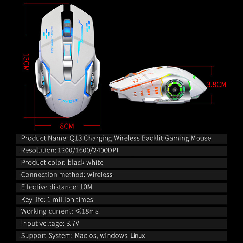 White Wireless Mouse RGB Rechargeable Gaming Mouse 6 Keys 2400Dpi Adjustable Computer Peripheral Mouse Suitable for Office Games