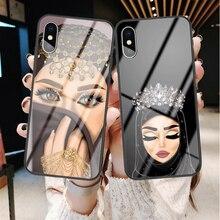 Роскошный женский стеклянный чехол для телефона для iPhone X 6 6S 7 8 Plus XR XS MAX Модный мусульманский черный чехол для iPhone 11 Pro Max
