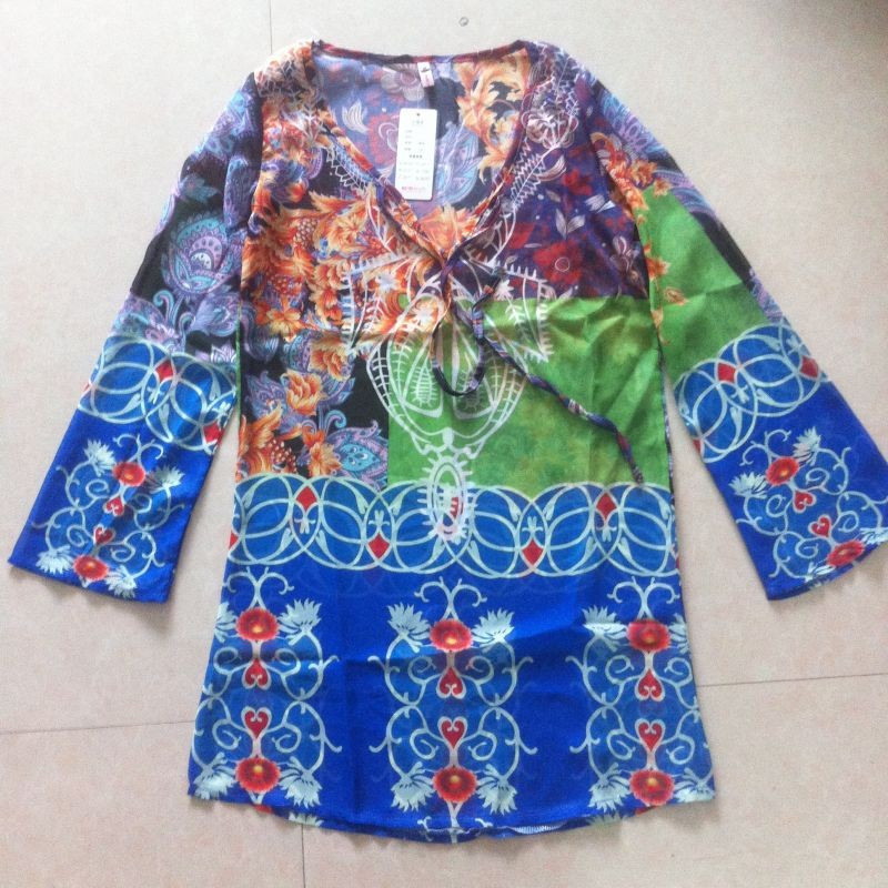 Summer Beach Wear Women Cover-Ups Bohomia Dress Print V neck Chiffon Dress Loose Long Sleeve Swimming Vestidos femininas M6513 7