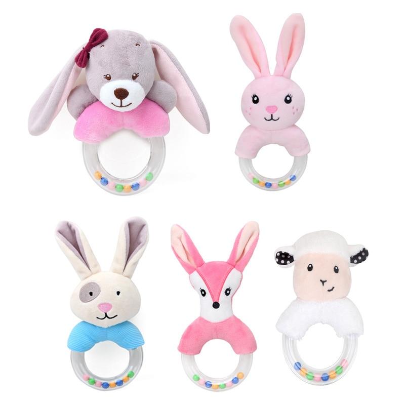Cute Plush Rattle Baby Toys Cartoon Bear Bunny Mobile Educational Toys Kids Newborn Rattles Toy 0-12 Months Rabbit Hand Bells