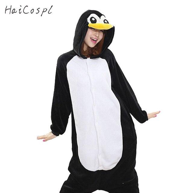 Kigurumi Пингвин Onesie для женщин пижамы для взрослых весь животных  косплэй Костюм Sleepsuit фланель маскоты вечерние 9724f4262f815