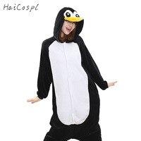 Penguen Onesie Kadın Pijama Yetişkin Tüm Hayvan Cosplay Kostüm Siyah Sleepsuit Pazen Maskot Parti Kış Sıcak Gece Pijama