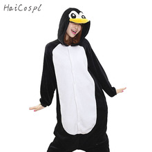 Pingouin Kigurumi Onesie femmes pyjama adulte entier Animal Cosplay Costume de nuit flanelle mascotte fête hiver chaud vêtements de nuit