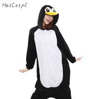 Penguin Onesie Women Pajama Adult Whole Animal Cosplay Costume Black Sleepsuit Flannel Pyjama Party Winter Warm